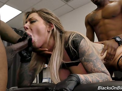 Wet cunt of marvelous whacking big breasted Karma RX is stretched by black studs