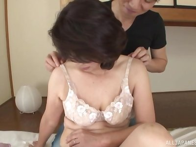 Interesting Japanese mature enjoys boy for sex