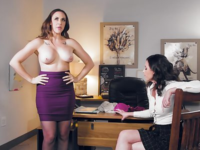 Casey Calvert strips in front be proper of Chanel Preston and they have copulation