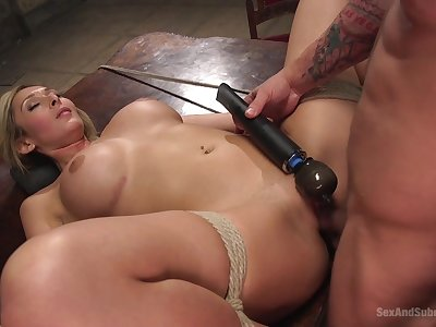 Cracked blonde gets the dick all in all possible modes and holes