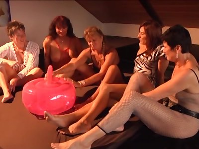 Enlarging ball dildo getting tested by a group of unpredictable intensify mature battalion