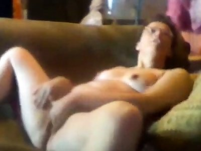 Hidden cam. My mute home alone masturbates on couch