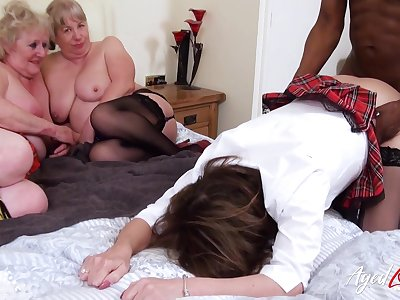 Two BBW grannies watch their friend getting pounded by BBC