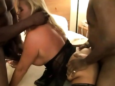 Hot MILF in the matter of Stockings Enjoys an Office Gangbang