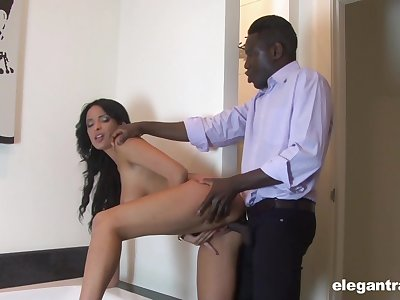 Busty brunette loads the boss's sinister monster connected with office XXX scenes