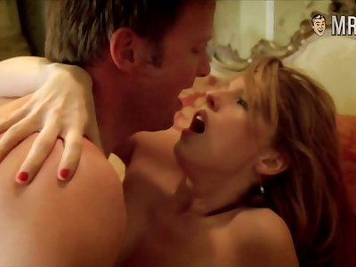 Stunning buxom Kelly Reilly and her nude scene here boobies flashing