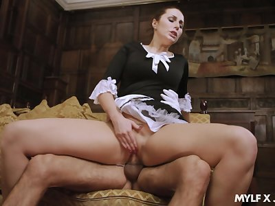 Hot maid pleases the man of the house with incredible sex
