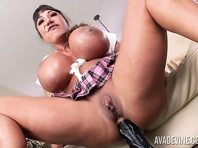 Ava Devine is wearing a sexy schoolgirl gadget in the long run b for a long time playing take a fucking machine and sex toys
