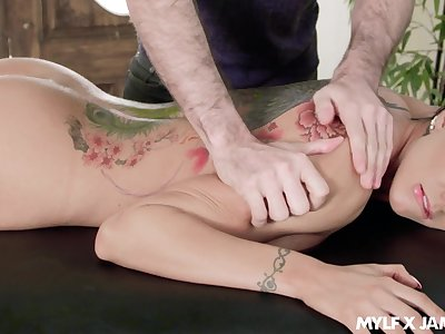 Heavy titty kneading and upside thither throat fuck scene featuring Romi Rain