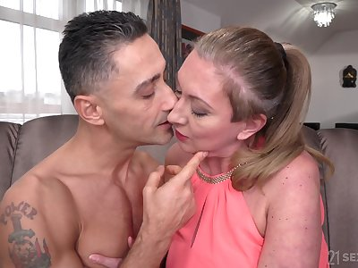 Pretty gigolo Mugur fucks older female sponsor Elizabeth Bee