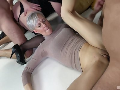 Wild sex orgy with entirety of cock hungry mature amateur sluts